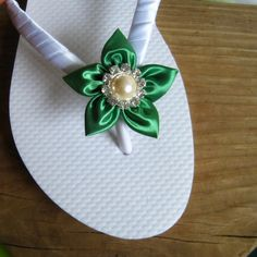 Emerald Green Floral Bridal Flip Flops - a must for your 'on trend' beach wedding