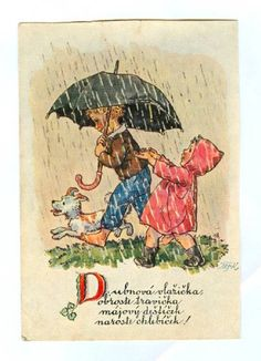 Vintage Cards, Vintage Postcards, Vintage Images, Retro Kids, Windy Day, Rainy Days, Rainy Day Pictures, Illustrator, Rain Art