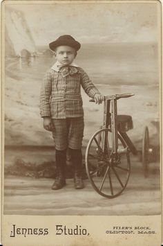 A BOY AND HIS WOODEN TRICYCLE IN CLINTON, MASSACHUSETTS (CABINET CARD)