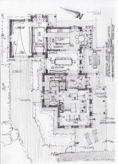 + Sketches - Architect luxury homes - Architectenbureau Gruwez Oudenaarde - . Home Design Floor Plans, House Floor Plans, Architecture Plan, Architecture Details, Architecture Drawings, Home Office Furniture Design, Schematic Design, Plan Sketch, Villa Plan