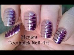 TOOTHPICK NAIL ART #4 - DIY Elegant Melted Nails In Gold & Purple - YouTube