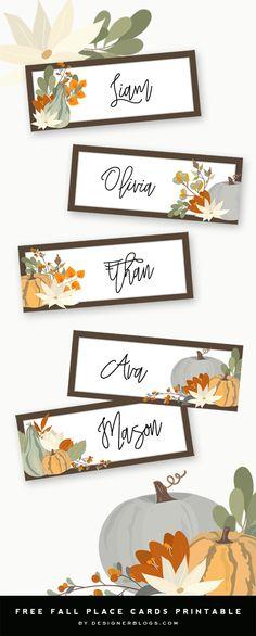 Thanksgiving Name Tags Printable