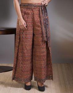 Cotton Kalamkari Wrap Contrast Tie Up Palazzo