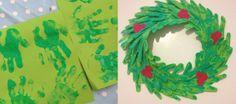 Childrens Christmas Craft - Handprint Wreath from Daisies & Pie