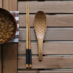 Japanese Wooden Fish Pattern Chopsticks Rice Scoop Soup Spoon Dinnerware Party