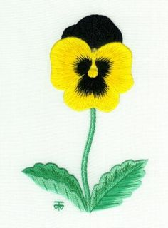 beginner needle painting embroidery (and it's a black and gold pansy!)