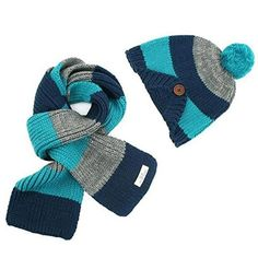 f9e24440983 Freedi Winter Kids Boys Knitted Woolen Stripe Hat and Scarf Set Wcn541  Blue. Material