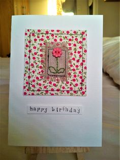 Hand-sewn card made of moda fabric, linen and a flower button - Fabric Crafts for Diy and Crafts Fabric Cards, Fabric Postcards, Paper Cards, Embroidery Cards, Free Motion Embroidery, Hand Made Greeting Cards, Making Greeting Cards, Handmade Birthday Cards, Card Birthday
