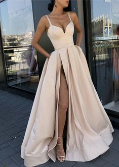 Simple Straps A-line Side Slit Lace Long Evening Prom Dresses, Cheap Sweet 16 Dresses Prom Dresses Long Prom Dress Prom Dresses Cheap Prom Dresses Lace Prom Dresses Simple Prom Dresses 2019 Fancy Prom Dresses, Split Prom Dresses, Straps Prom Dresses, Prom Dresses 2018, Elegant Dresses, Pretty Dresses, Evening Dresses, Dress Prom, Long Dresses