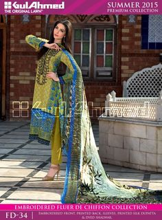 Gul Ahmed Embroidered Fluer De Chiffon Collection 2015