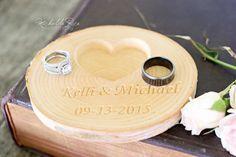 Personalized Wood Ring Holder Rustic Wedding by KlikKlakBlocks