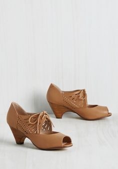 Dancey Drew Peep Toe Heel in Fallow by Chelsea Crew - Solid, Cutout, Work, Daytime Party, Graduation, Vintage Inspired, 60s, Darling, Summer, Better, Lace Up, Peep Toe, Variation, Brown, Neutral, Mid, Wedding, Bridesmaid, Wedding Guest, Tan
