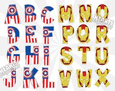 Captain America & Iron Man Alphabet Clip Art Set - Superhero Alphabet ClipArt