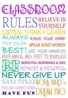 Such cute and positive rules for a classroom 3-8 grade-7004