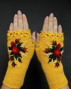 Knitted Fingerless Gloves Yellow Red Roses Gloves & Mittens Gift Ideas For Her Winter Accessories Yellow Mittens, Yellow Gloves, Crochet Mittens, Crochet Gloves, Knitting Accessories, Winter Accessories, Laine Rowan, Hand Knitting, Knitting Patterns