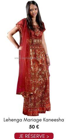 981e42e27dd32 Location Lehenga Choli Mariage Kaneesha Bordeaux Rouge Doré Pas Cher 50€  Taille 36 38 Narkis Fashion