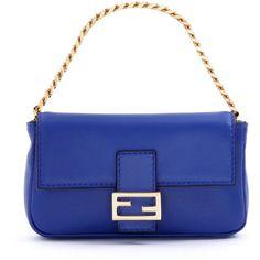 Fendi Micro Fendista Shoulder Bag (4.170 BRL) ❤ liked on Polyvore featuring bags, handbags, shoulder bags, purses, blue, chain purse, leather shoulder handbags, real leather handbags, genuine leather handbags and blue shoulder bag
