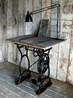 Pedal work table / desk.  http://www.quirkyinteriors.co.uk/pages/pedal_work_table_203857.cfm