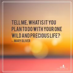"Mary Oliver Quote  ""Tell me, what is it you plan to do with your one wild and precious life?"""