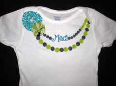Aqua Green and Black Name Necklace Onesie with by allisonmeredith, $17.50