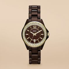 Riley Mini Ceramic Watch - Brown $225