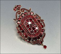 Antique Garnet Victorian Locket Brooch Pendant 1800s Jewelry