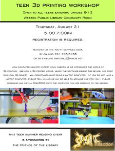 3D Printing Workshop.  Thursday, August 20 from 5:00-7:00pm.