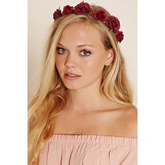 Forever21 Rose Flower Crown Headwrap ($4.90) ❤ liked on Polyvore featuring accessories, hair accessories, headband hair accessories, forever 21, head wrap headband, flower garland and flower garland headband