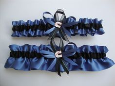 Slate Blue And Black Wedding Garter Set With Cummins Theme