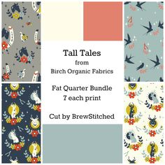 Fat quarter bundle of Birch organic fabrics - Tall Tales Collection-7 prints 100% organic cotton FQ's - Modern quilting + sewing fabric by BrewStitched on Etsy