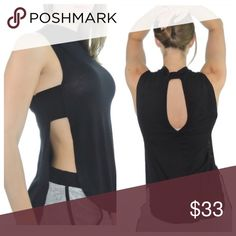 Fit Babz Bib Tee Fit Babz Bib Tee in black rayon/spandex open sides sleeveless tee with a higher neck and keyhole back.  Front hem is slightly higher than the back hem.  Versatile top looks great with joggers or dressed up with skinny jeans and heels 💁🏻. Runs true to size. Fit Babz Tops Muscle Tees