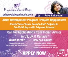 Call for Applications from Indian Artists in US, UK and Canada till Nov 2018. Open for Singers, Songwriters,Performers and Visual Artists.