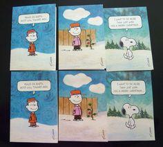Vintage Lot of 6 Unused Peanuts Gang, Snoopy, Charlie Brown Christmas Cards - Destash - With damage