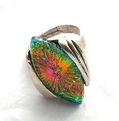 Adjustable Dichroic Glass Ring by kathy2722 on Etsy, $21.00