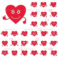 Valentines Day Heart Smileys  #GraphicRiver         Set of Valentine hearts smilies, love signs, symbolizing various emotions.   Vector EPS 8 plus AI CS 5 plus high-quality Jpeg. Editable vector file, containing only vector shapes. No gradients. No transparencies.     Created: 16December12 GraphicsFilesIncluded: JPGImage #VectorEPS #AIIllustrator Layered: No MinimumAdobeCSVersion: CS5 Tags: amour #celebration #character #concept #design #element #emblem #emoticon #emotion #happy #heart…