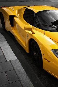 Ferrari Enzo with a glorious yellow paint job.