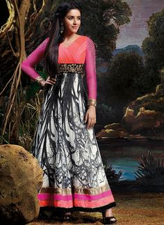 Beauteous Black And Off White Printed And Patch Border Work Anarkali Suit, Product Code :7646, shop now http://www.sareesaga.com/beauteous-black-and-off-white-printed-and-patch-border-work-anarkali-suit-7646  Email :support@sareesaga.com What's App or Call : +91-9825192886
