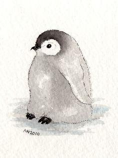 Penguin Chick ACEO original ink/watercolour от wildsunart на Etsy