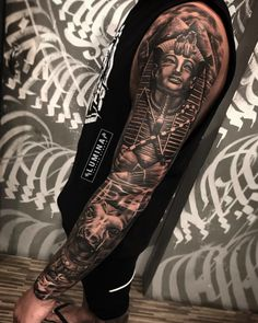 Awesome full sleeve done at by fredy_lumina🔥 swipe for another side 👉. Call the shop or stop by to set up appointment… egyptiantattoosleeve African Sleeve Tattoo, Egyptian Tattoo Sleeve, African Tribal Tattoos, Skull Sleeve Tattoos, Arm Sleeve Tattoos, Leg Tattoo Men, Arm Tattoos For Guys, Full Tattoo, Full Sleeve Tattoo Design