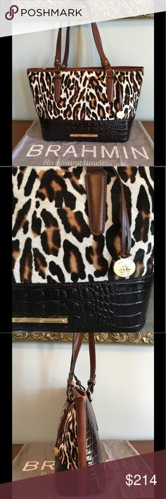 "Brahmin Med. Asher  - Morrison Calf Hair  EUC EUC   Stunning Brahmin Med Asher in Morrison Calf Hair !  A beautifully Chic Leopard Pattern in Italian Calf Hair plus Dark Brown Croc embossed Leather & accented with smooth  Vachetta Leather ! Detailed & Stylish in NEW condition with Pristine interior ! My sister-in-laws bag that was used for one vacation ! Adjustable shoulder straps with 10 "" drop, back phone pocket , top zip closure , goldtone hardware , jacquard lining , zip jewelry & wall…"