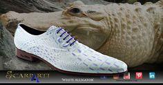 Model 'White Alligator' #Scarparti #Pepe Milan #Handmade shoes #stylish shoes # leather shoes #extravagant shoes #reptile print shoes #alligator shoes #men's shoes #spanish shoes