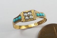 $305 (wow) ANTIQUE VICTORIAN PERIOD ENGLISH 15K GOLD TURQUOISE & PEARL RING c1881