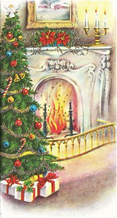 Gorgeous Christmas fireside. ¸.•♥•.  www.pinterest.com/WhoLoves/Christmas  ¸.•♥•.¸¸¸ツ #Christmas