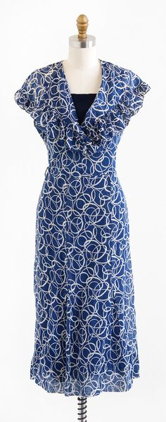 vintage 1930s dress / 30s dress / Blue and White by RococoVintage