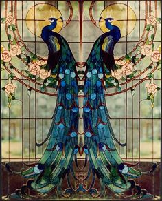 "Beautiful ""Art Nouveau"" Tiffany Glass This would be great on a set of doors.but with the peacocks facing each other Motifs Art Nouveau, Design Art Nouveau, Motif Art Deco, Art Design, Sea Glass Art, Stained Glass Art, Stained Glass Windows, Mosaic Glass, Fused Glass"