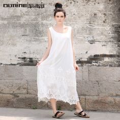 Jiqiuguer Original Design Beach Summer Silk Dress Vintage National Trend One-piece Dress Plus size Lace Crochet Basic Dress >>> For more information, visit image link.