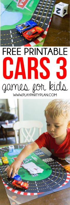 Free printable Cars 3 games for kids! Printable racetrack board game, memory matching game, spot the difference, and more! The perfect way to get kids excited for Cars (Favorite Party Free Printables) Cars Games For Kids, Disney Cars Games, Disney Cars Party, Disney Cars Birthday, Activities For Kids, Disney Games For Kids, Disney Pixar, Fun Printables For Kids, Car Party