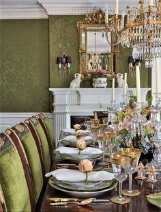 Traditional Dining Rooms, Traditional Interior, Traditional Decorating, Traditional Homes, Coral Gables Florida, Upholstered Walls, Ikea, Pink Palace, Charleston Homes