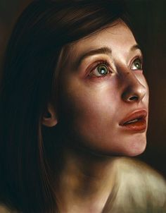 """Anna"" - Elena Sai {figurative realism art beautiful female head dramatic woman face portrait cropped digital painting} elenasai.deviantart.com"