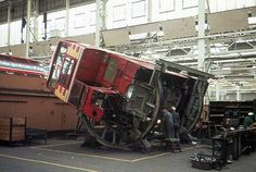 A Routemaster body receives attention during a general overhaul at London Transport's Aldenham Works during July 1972 London Transport, Mode Of Transport, Public Transport, London Bus, Old London, Richard Branson, Routemaster, Buses And Trains, Red Bus